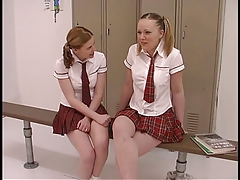 2 teen whores in schoolgirl uniforms get their freak on in the locker