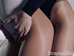 Strap dildo bang-out in stockings and leotards