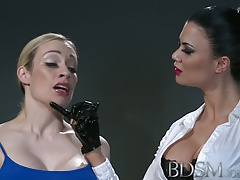 Supremacy &  Hard-core Ultra-kinky sub with massive fun bags lets Mistress into her