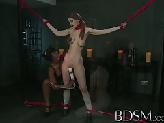 Gonzo Youthfull Damsel gets a shock from sumptuous lezzy Domme