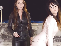 2 steamy   all in leather femdom girly-girl three-way
