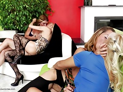 Brilliant lesbo gang-fuck with moms and  girls