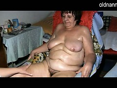 Plus-size granny and young dame  together