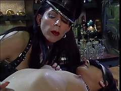 Diminutive black-haired made to obey leather  dyke