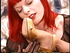 Redhead lesbo with nip piercings liquidates  & gargles  of goth whore