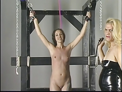 Sloppy platinum-blonde with good rump gets donminated and smacked by a bleached platinum-blonde