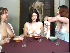 maids having a breakfast and swallowing milk from their own tits