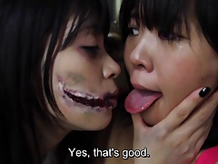 Asian Slit Mouthed Woman girl-on-girl play Subtitled