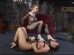 Girly-girl Dominatrix frolicking with her slavegirl