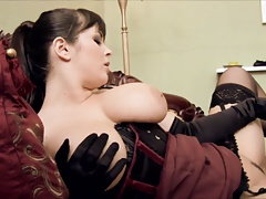 Filthy maid gets on her knees to munch her domme honeypot