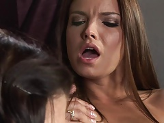 Promiscuous lesbo sluts make out with playthings in a reality shoot