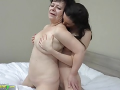 OLDNANNY Super-fucking-hot lady with belt cock humps immense gigantic granny