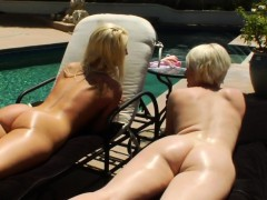 Enema  spraying by the pool with girl/girl