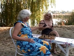 Wooly grannies penetrate outdoors