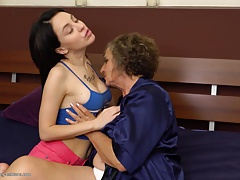 Granny at sapphic orgy with buxomy damsel