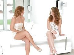 Sylvia Lauren and Bunny Honey talk and have scorching girl-on-girl fucky-fucky