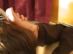 Office nymphs worship Bossy Dina feets