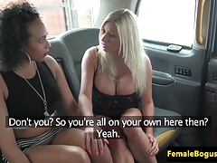 chick cabbie pussylicked by dark-hued british
