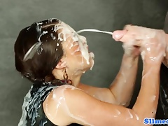 Strapon fucked girl/girl facialized at gloryhole