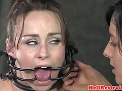 Girl/girl victim analy hooked while hairpulled