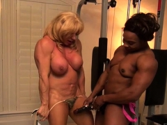 Mature nymph bodybuilder Insane Kat and  muscle Nadia