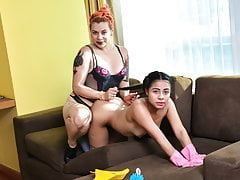 OPERACION LIMPIEZA Latina maid honeypot munching in girl/girl bang
