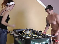 2 Hotties Play a Game of De-robe Foosball